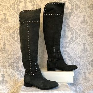 Tory Burch Rhett over the knee gray suede boots